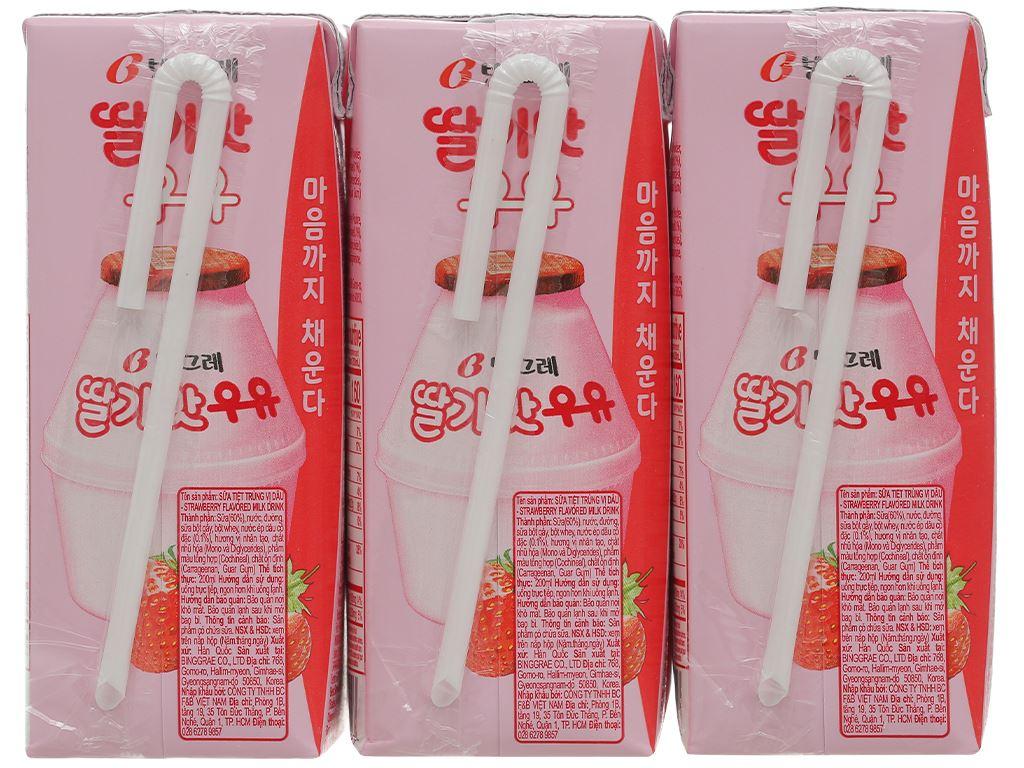 Lốc 6 hộp sữa tươi tiệt trùng hương dâu Binggrae 200ml 2