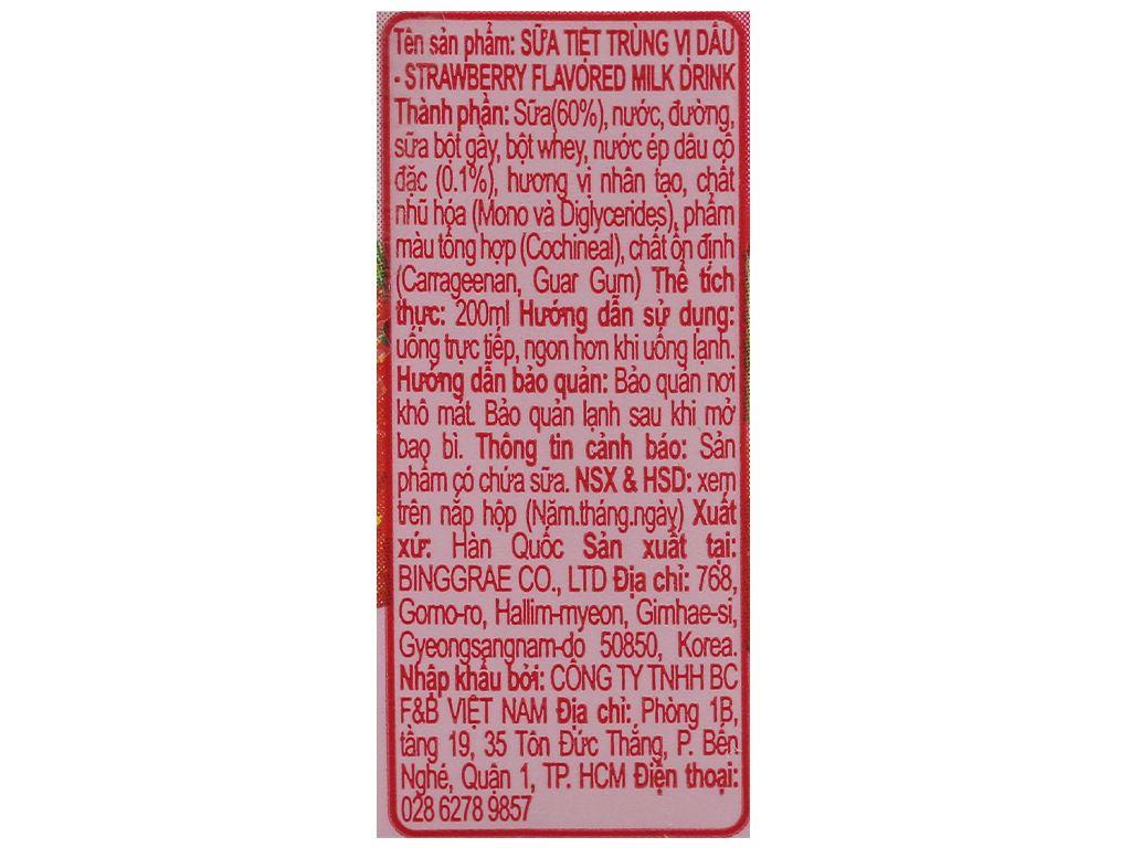 Lốc 6 hộp sữa tươi tiệt trùng hương dâu Binggrae 200ml 5