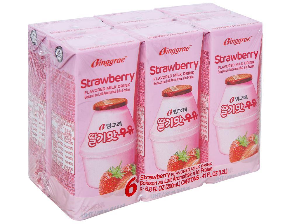 Lốc 6 hộp sữa tươi tiệt trùng hương dâu Binggrae 200ml 1