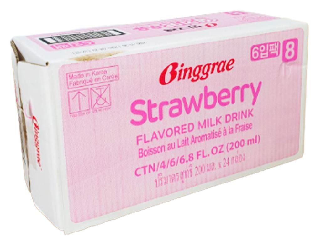 Thùng 24 hộp sữa tươi tiệt trùng hương dâu Binggrae 200ml 1
