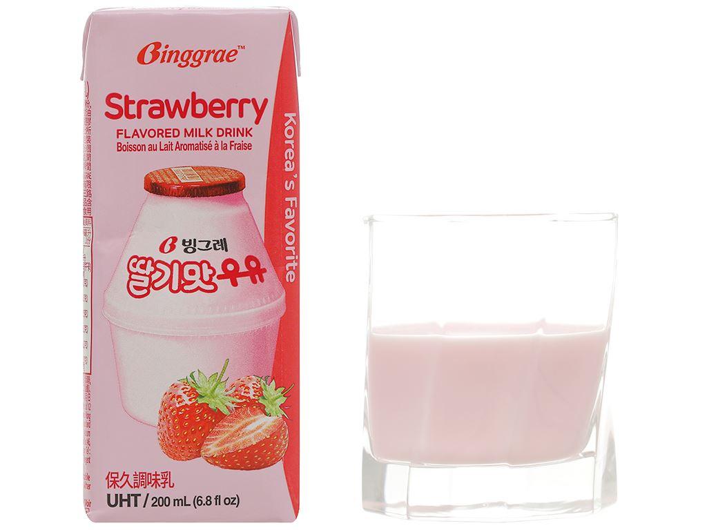 Thùng 24 hộp sữa tươi tiệt trùng hương dâu Binggrae 200ml 8
