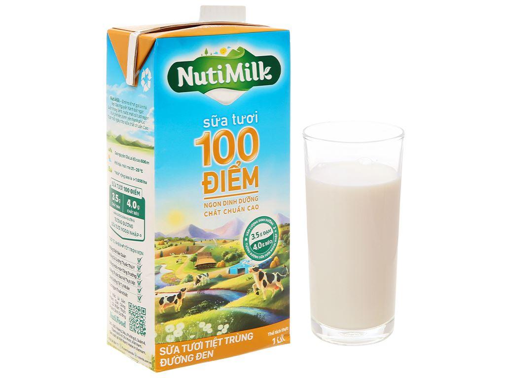 Sữa tươi tiệt trùng đường đen Nutimilk hộp 1 lít 7