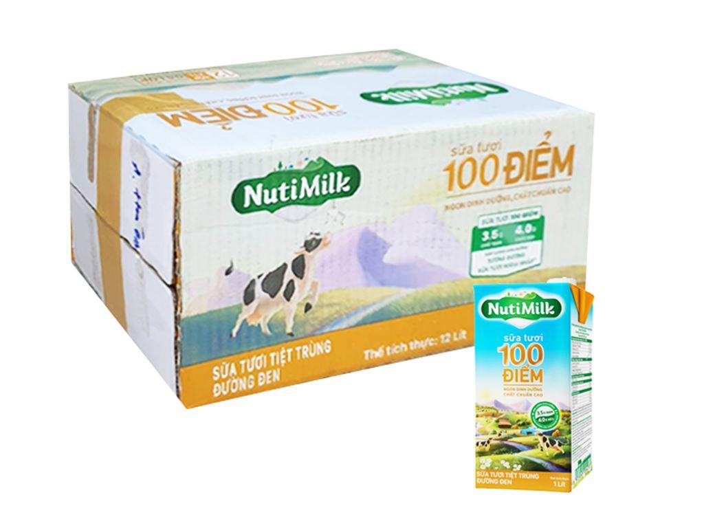Thùng 12 hộp sữa tươi tiệt trùng đường đen Nutimilk 1 lít 1