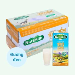 Thùng 12 hộp sữa tươi tiệt trùng đường đen Nutimilk 1 lít