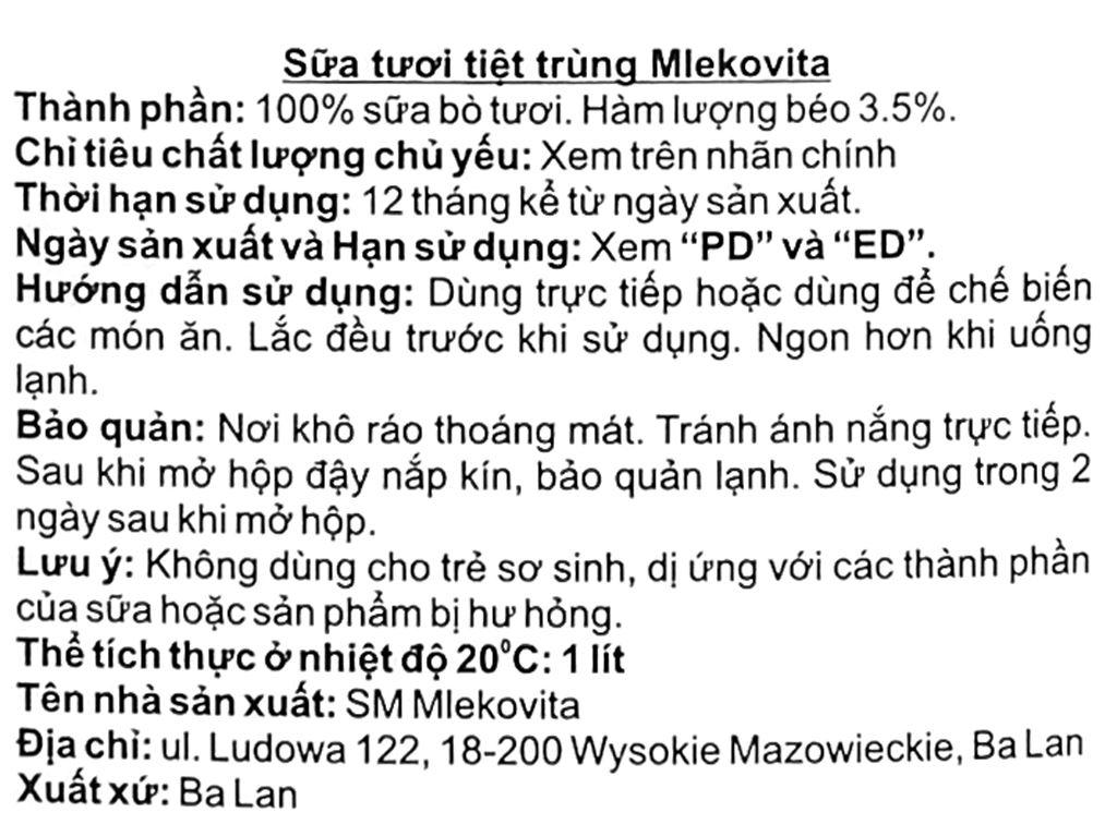 Sữa tươi tiệt trùng Mlekovita hộp 1 lít 5