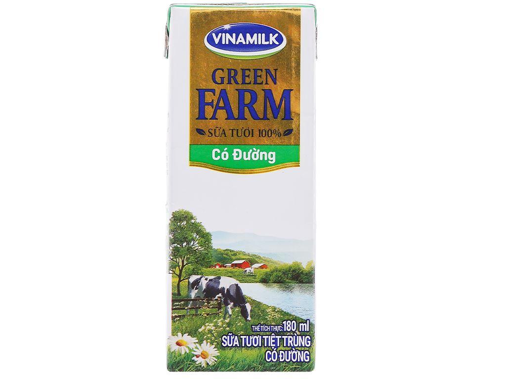 Lốc 4 hộp sữa tươi tiệt trùng có đường Vinamilk Green Farm 180ml 3