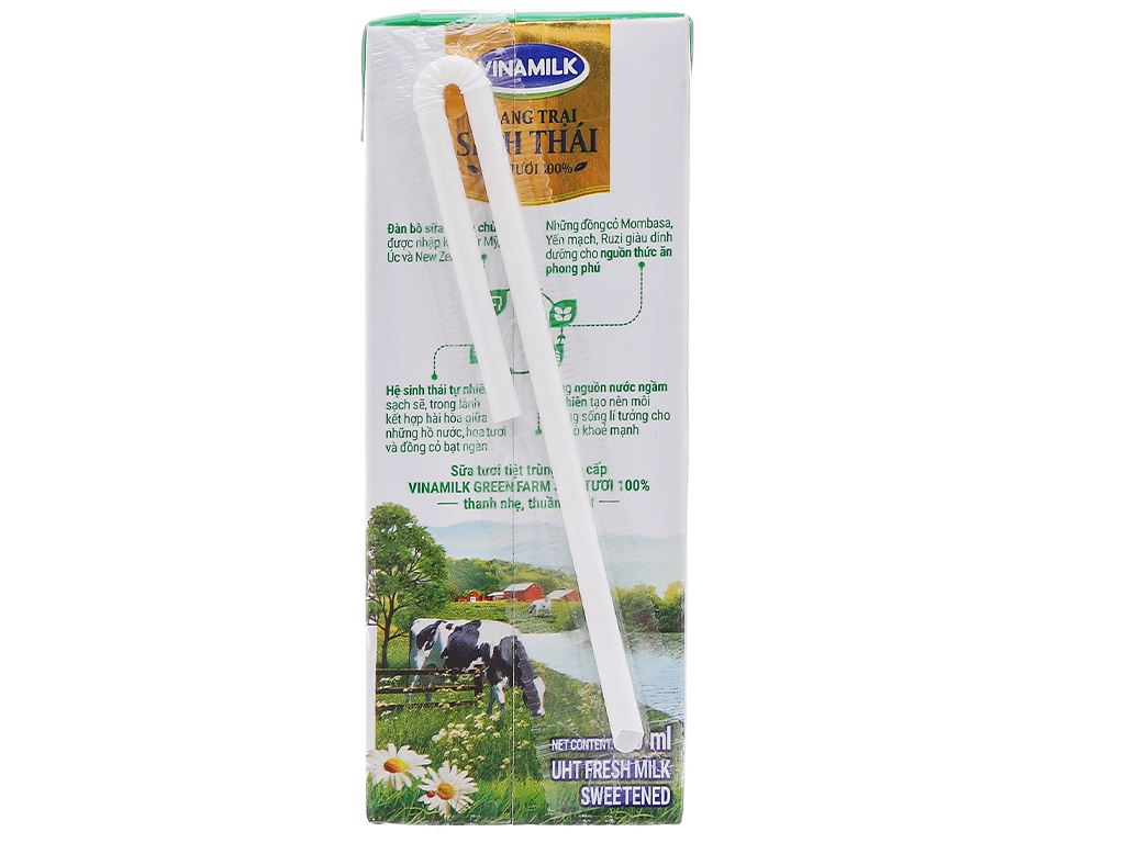 Lốc 4 hộp sữa tươi tiệt trùng có đường Vinamilk Green Farm 180ml 4