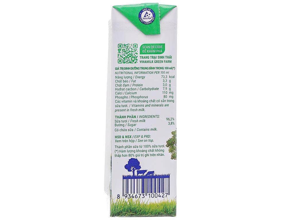 Lốc 4 hộp sữa tươi tiệt trùng có đường Vinamilk Green Farm 180ml 6