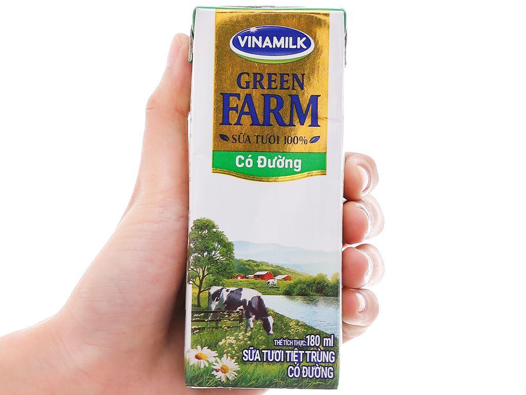 Lốc 4 hộp sữa tươi tiệt trùng có đường Vinamilk Green Farm 180ml 9