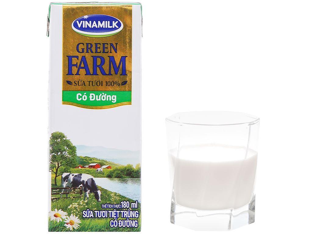 Thùng 48 hộp sữa tươi tiệt trùng có đường Vinamilk Green Farm 180ml 8