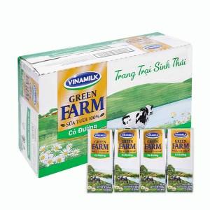 Thùng 48 hộp sữa tươi tiệt trùng có đường Vinamilk Green Farm 180ml