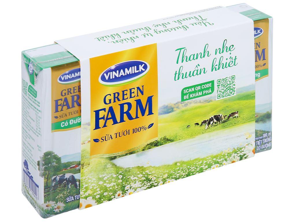 Thùng 48 hộp sữa tươi tiệt trùng có đường Vinamilk Green Farm 180ml 2