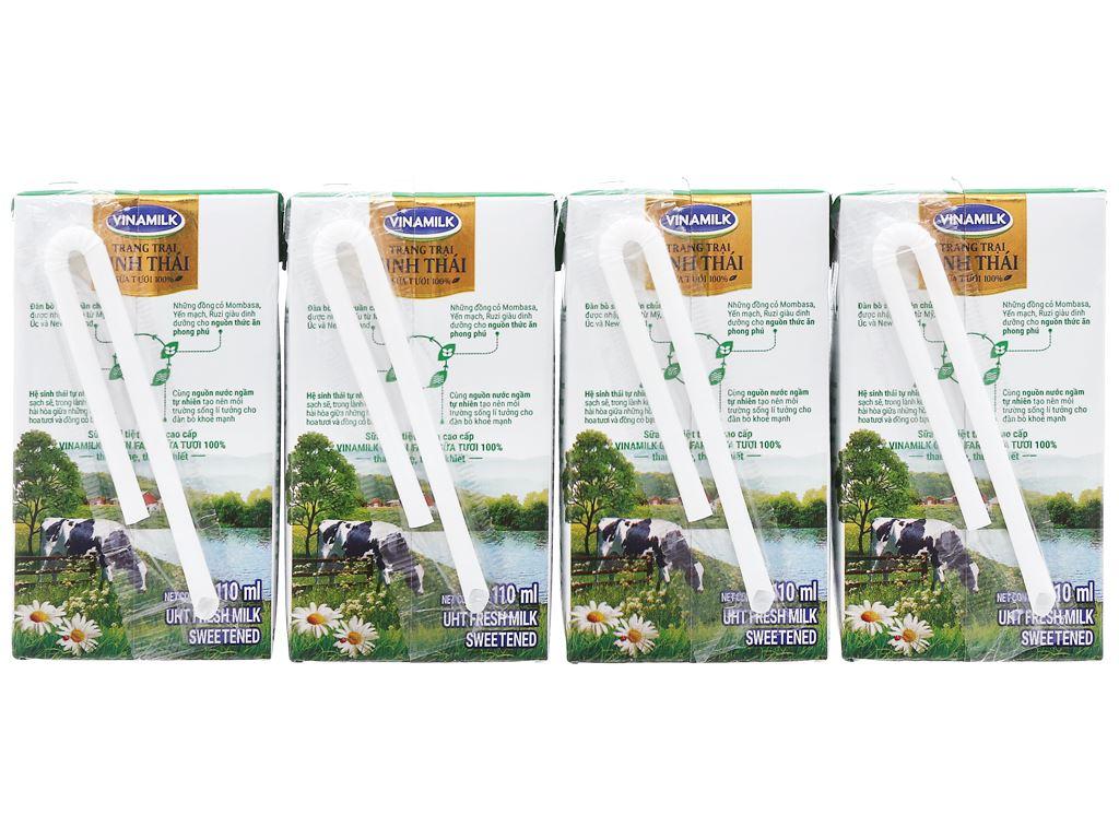 Lốc 4 hộp sữa tươi tiệt trùng có đường Vinamilk Green Farm 110ml 2