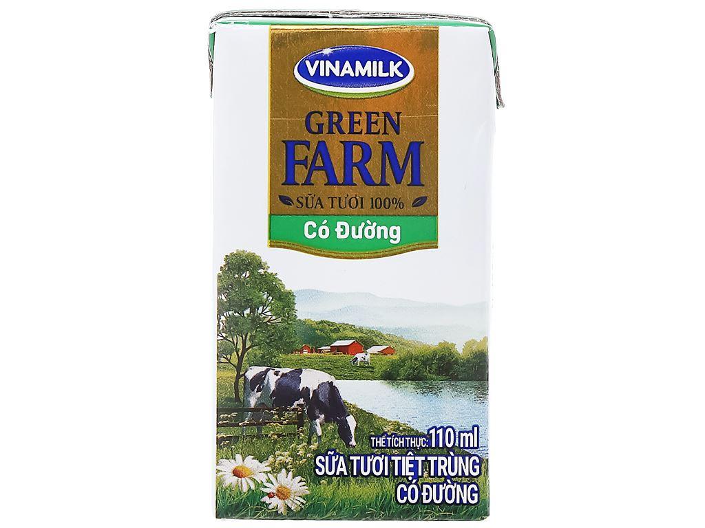 Lốc 4 hộp sữa tươi tiệt trùng có đường Vinamilk Green Farm 110ml 3