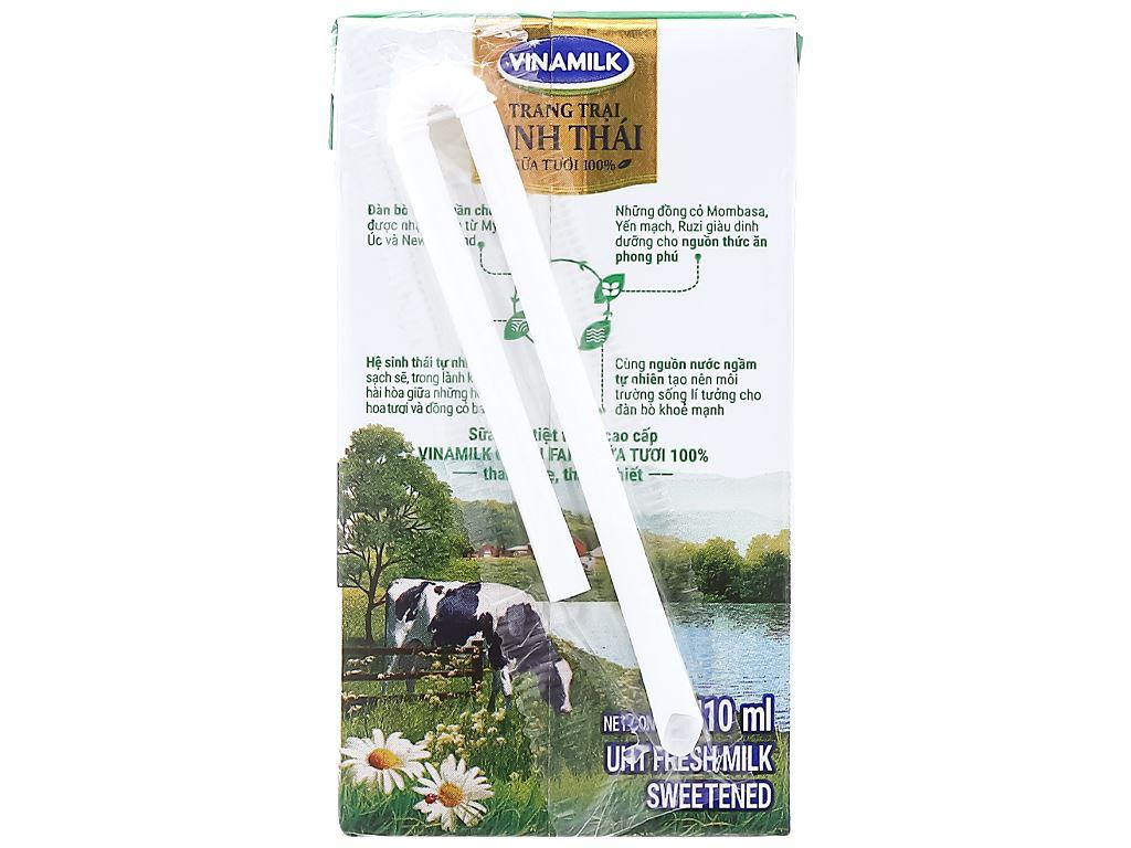 Lốc 4 hộp sữa tươi tiệt trùng có đường Vinamilk Green Farm 110ml 4