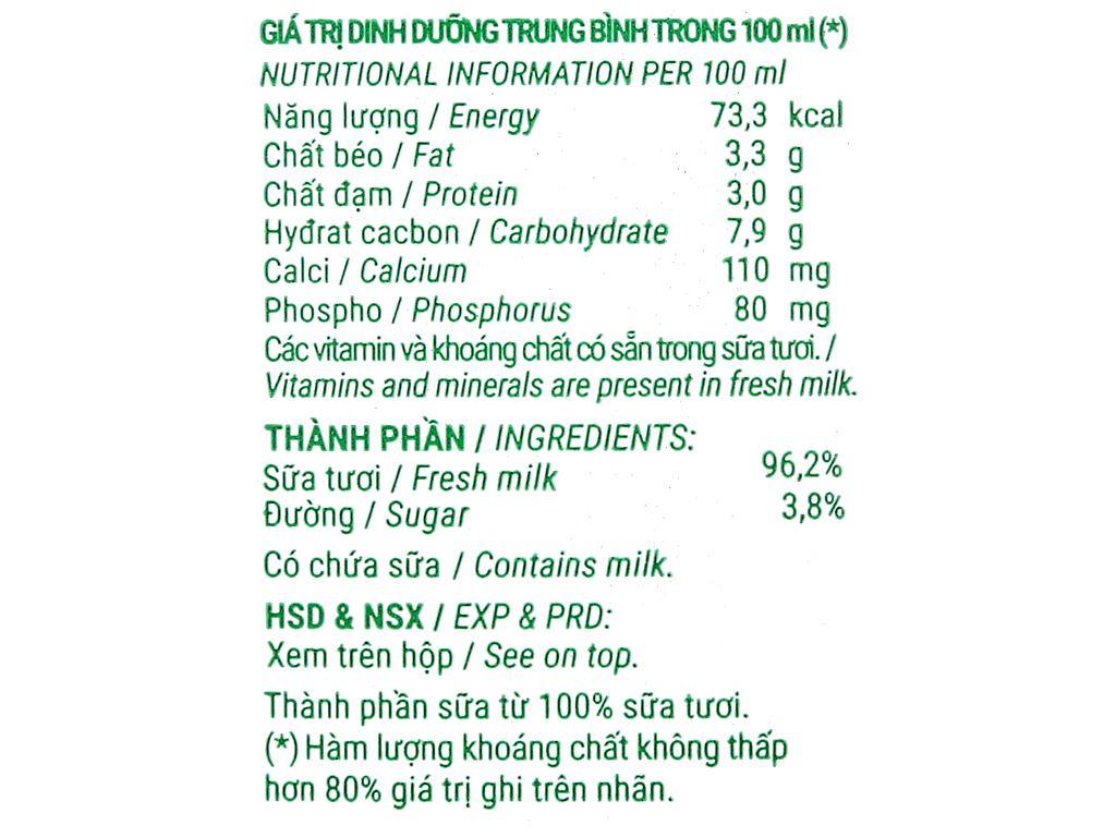 Thùng 48 hộp sữa tươi tiệt trùng có đường Vinamilk Green Farm 110ml 6