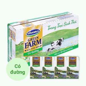 Thùng 48 hộp sữa tươi tiệt trùng có đường Vinamilk Green Farm 110ml