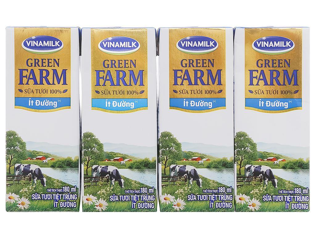 Lốc 4 hộp sữa tươi tiệt trùng ít đường Vinamilk Green Farm 180ml 1