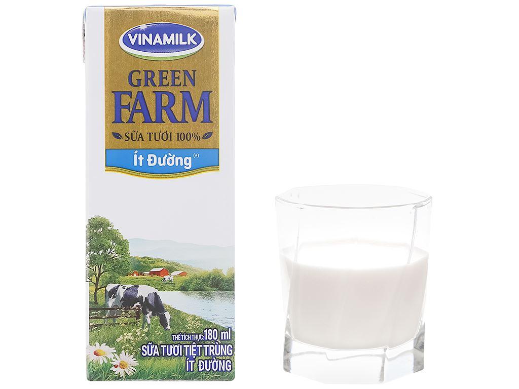 Lốc 4 hộp sữa tươi tiệt trùng ít đường Vinamilk Green Farm 180ml 8