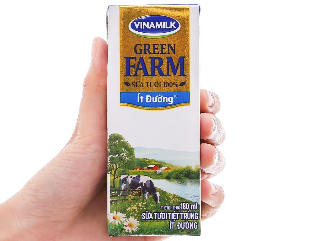 Lốc 4 hộp sữa tươi tiệt trùng ít đường Vinamilk Green Farm 180ml 9