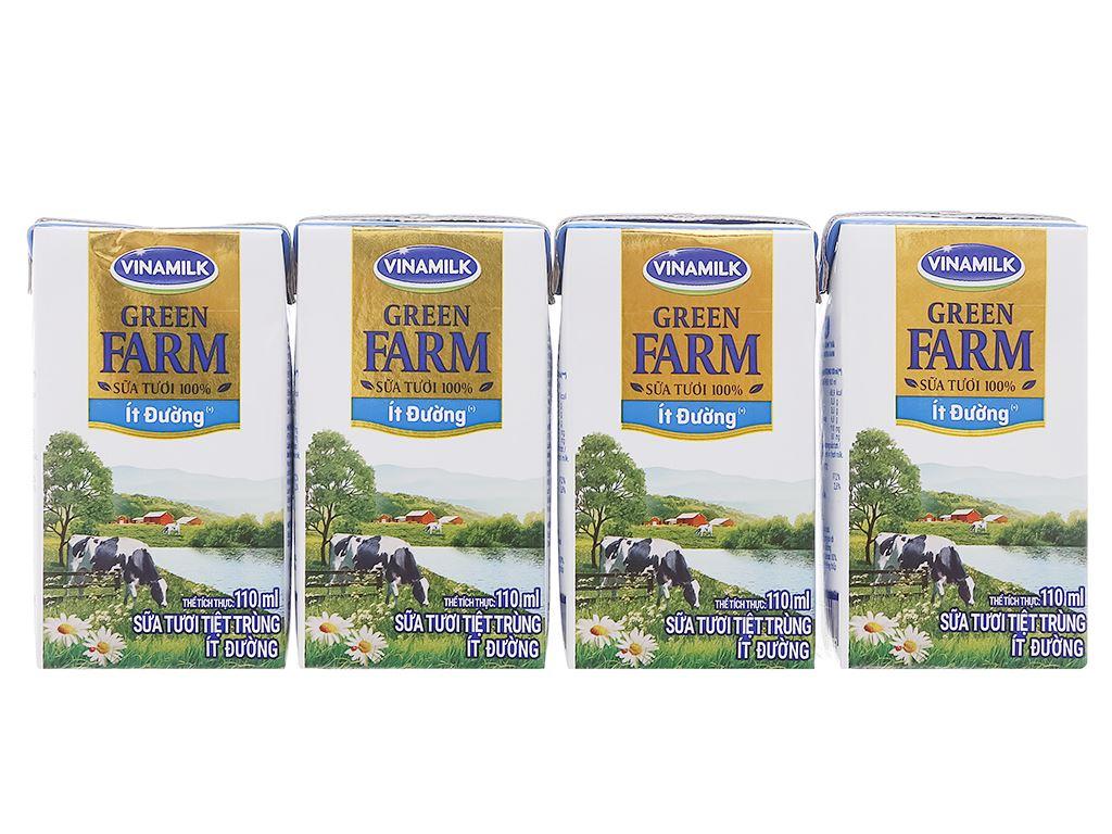Lốc 4 hộp sữa tươi tiệt trùng ít đường Vinamilk Green Farm 110ml 1