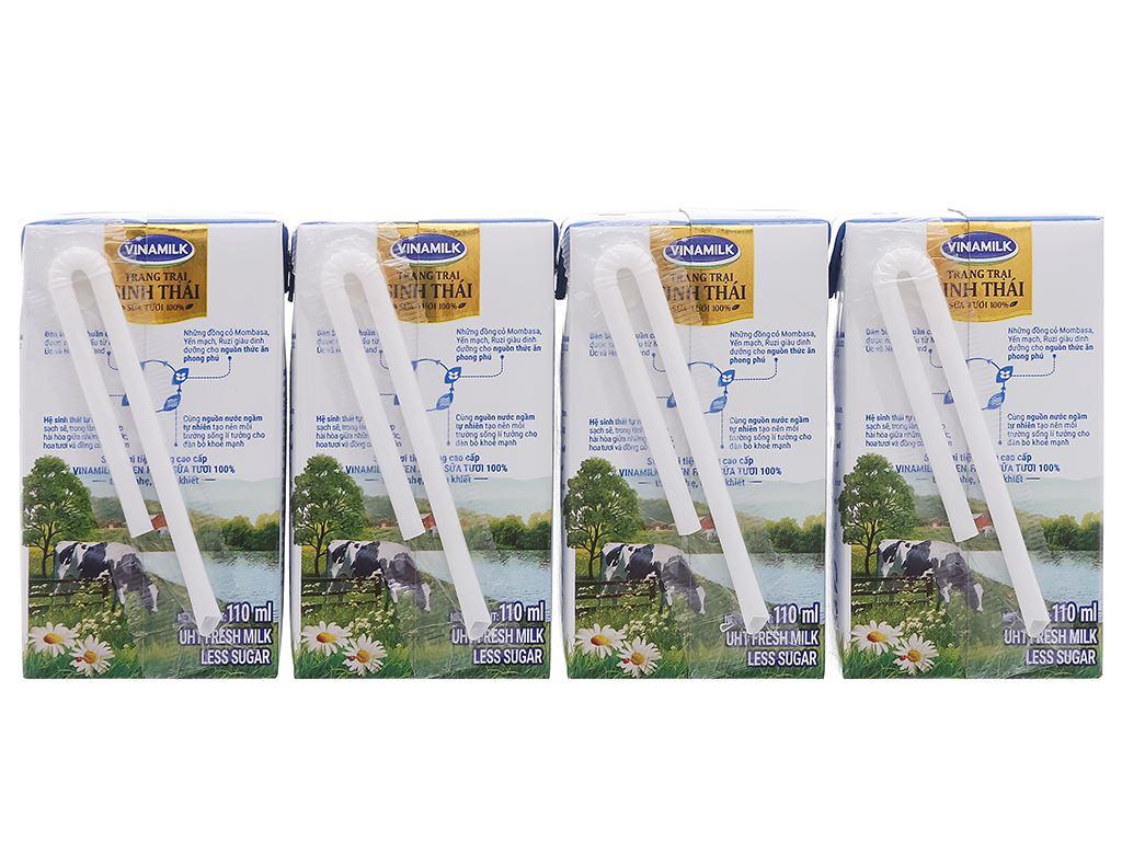 Lốc 4 hộp sữa tươi tiệt trùng ít đường Vinamilk Green Farm 110ml 2