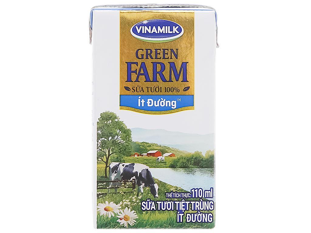 Lốc 4 hộp sữa tươi tiệt trùng ít đường Vinamilk Green Farm 110ml 3