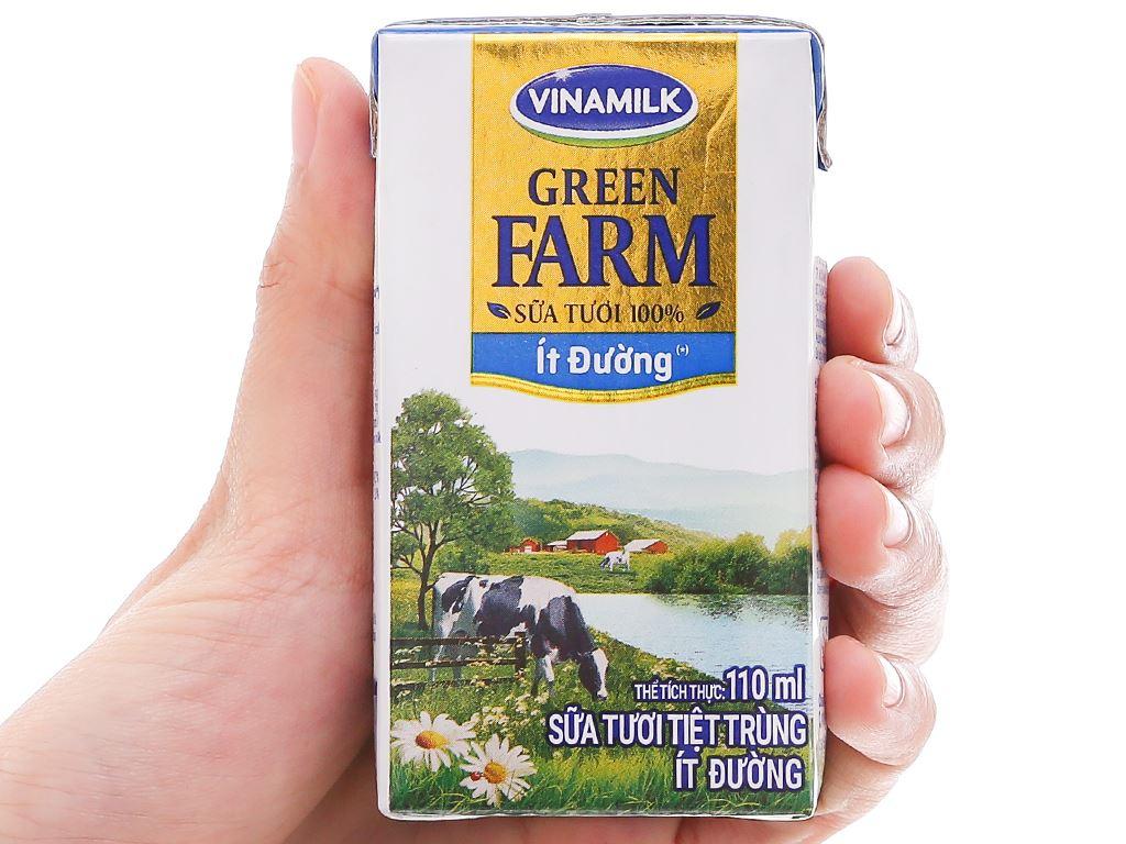 Lốc 4 hộp sữa tươi tiệt trùng ít đường Vinamilk Green Farm 110ml 8