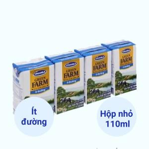 Lốc 4 hộp sữa tươi tiệt trùng ít đường Vinamilk Green Farm 110ml