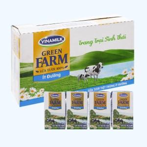 Thùng 48 hộp sữa tươi tiệt trùng ít đường Vinamilk Green Farm 110ml