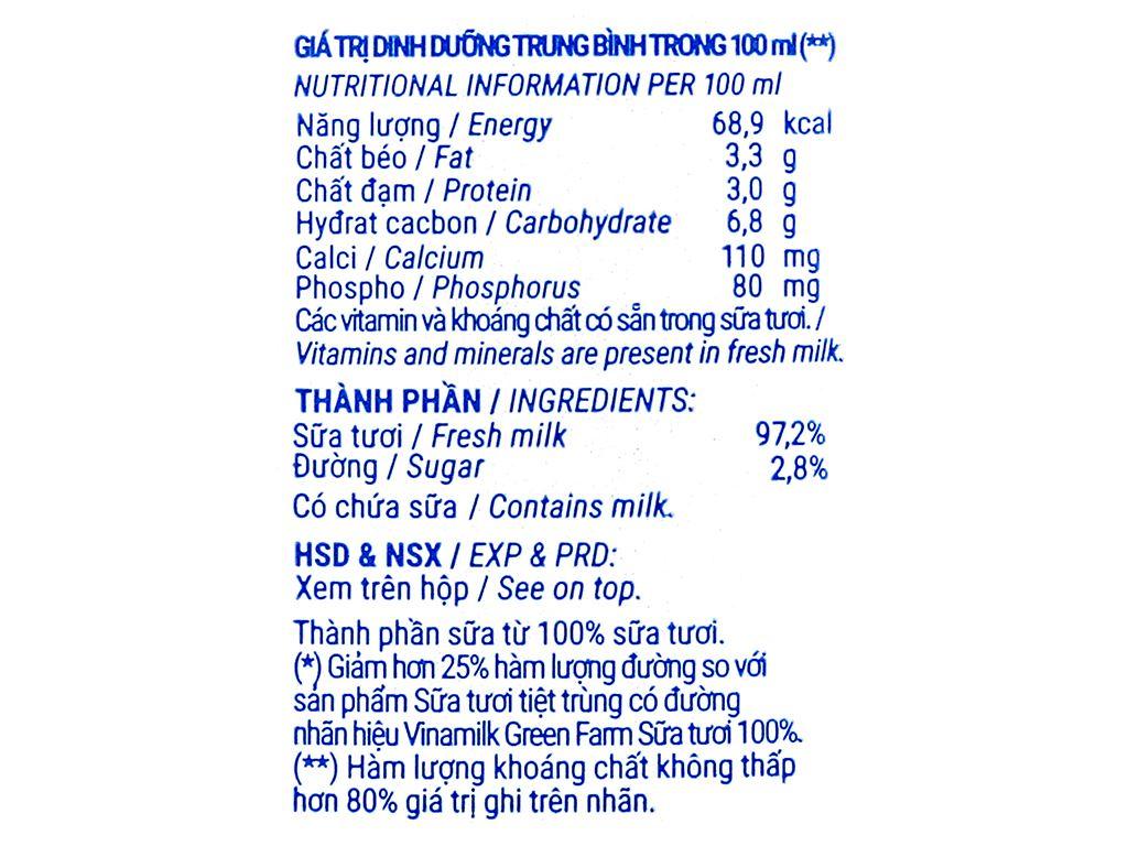 Thùng 48 hộp sữa tươi tiệt trùng ít đường Vinamilk Green Farm 110ml 6