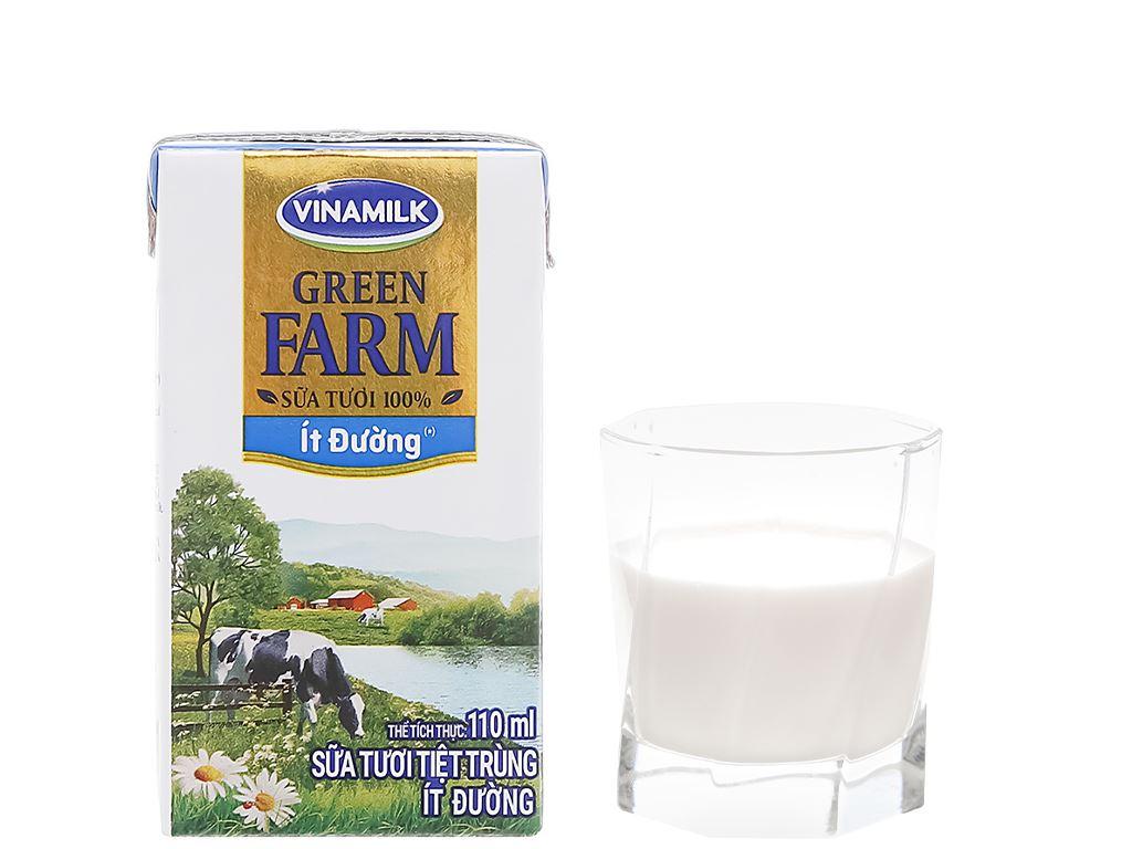 Thùng 48 hộp sữa tươi tiệt trùng ít đường Vinamilk Green Farm 110ml 8