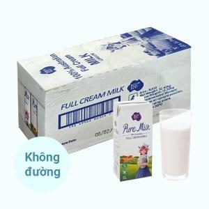 Thùng 12 hộp sữa tươi nguyên kem không đường Pure Milk hộp 1 lít