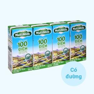 Lốc 4 hộp sữa tươi tiệt trùng có đường Nutimilk 100 điểm 180ml