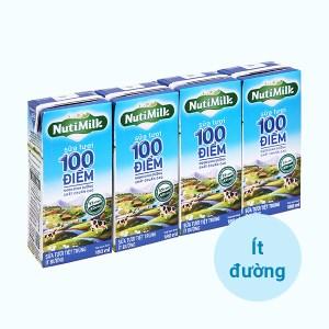 Lốc 4 hộp sữa tươi tiệt trùng ít đường Nutimilk 100 điểm 180ml