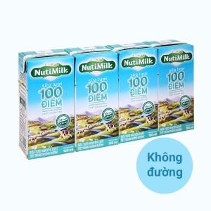 Lốc 4 hộp sữa tươi tiệt trùng không đường Nutimilk 100 điểm 180ml