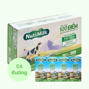 Thùng 48 hộp sữa tươi tiệt trùng có đường Nutimilk 100 điểm 180ml