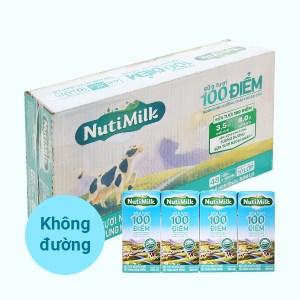 Thùng 48 hộp sữa tươi tiệt trùng không đường Nutimilk 100 điểm 180ml