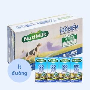 Thùng 48 hộp sữa tươi tiệt trùng ít đường Nutimilk 100 điểm 180ml