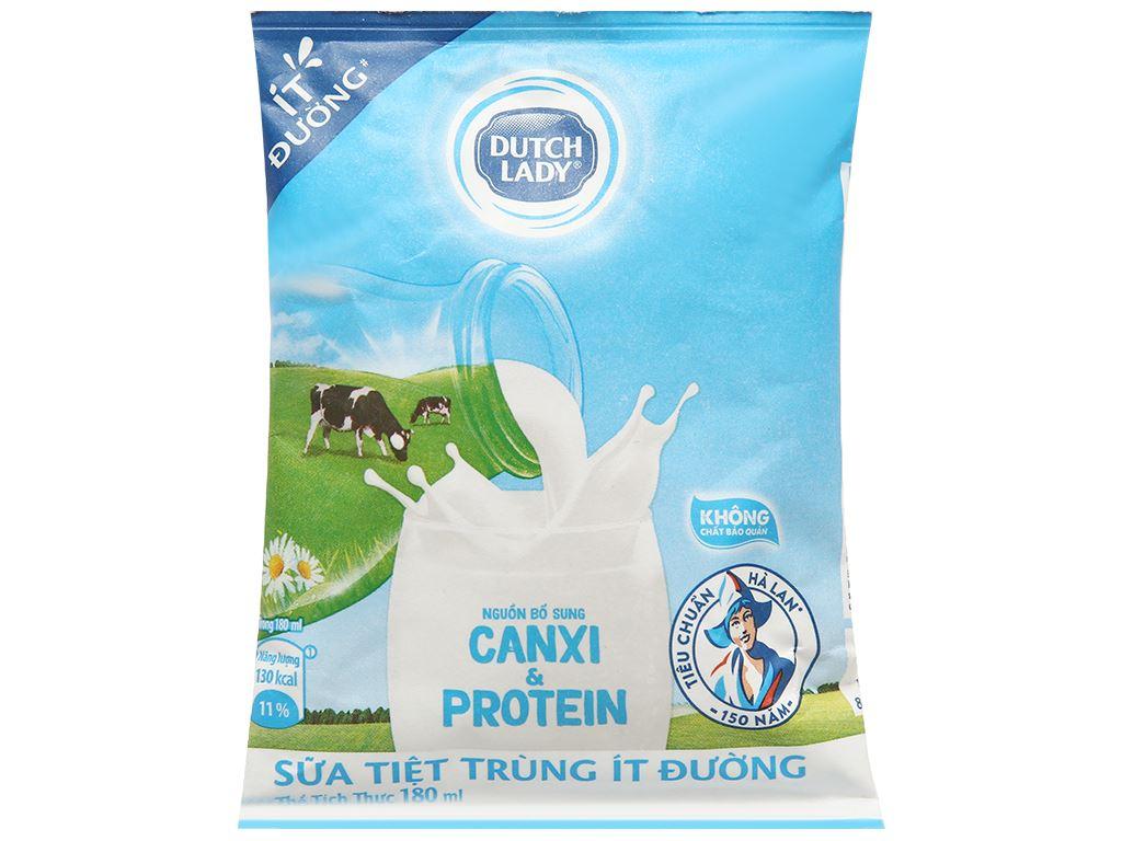 Thùng 24 bịch sữa tươi tiệt trùng ít đường Dutch Lady Canxi & Protein 180ml 2