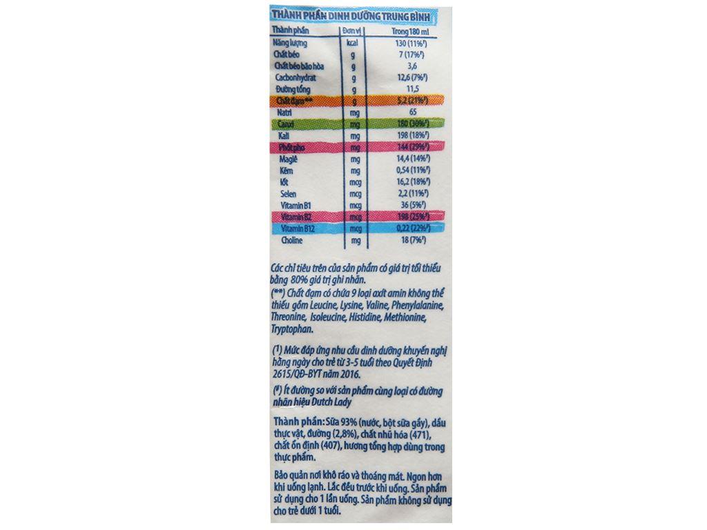 Thùng 24 bịch sữa tươi tiệt trùng ít đường Dutch Lady Canxi & Protein 180ml 4