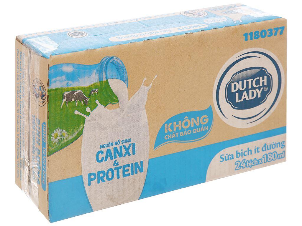 Thùng 24 bịch sữa tươi tiệt trùng ít đường Dutch Lady Canxi & Protein 180ml 1