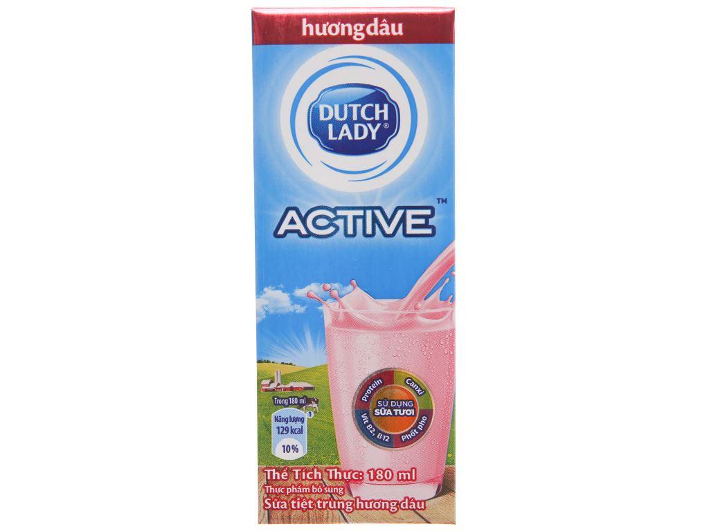 Sữa tiệt trùng Dutch Lady hương dâu hộp 180ml 3