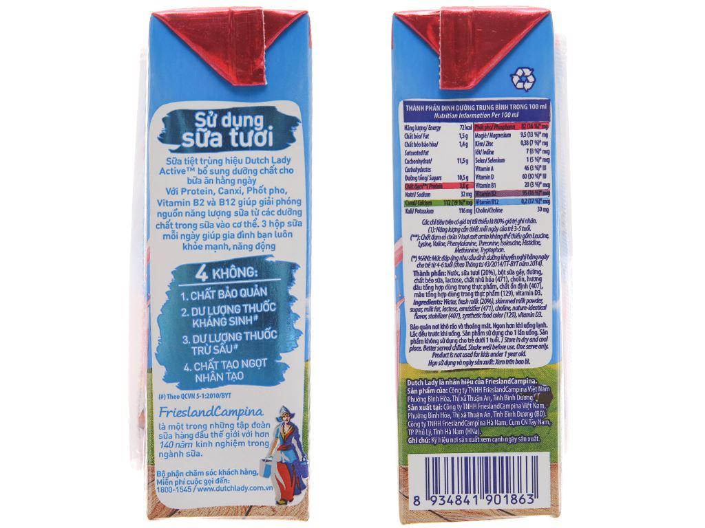 Sữa tiệt trùng Dutch Lady hương dâu hộp 180ml 5