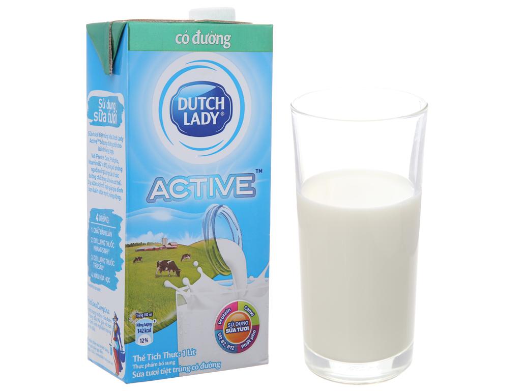 Sữa tươi tiệt trùng Dutch Lady Active có đường hộp 1 lít 2