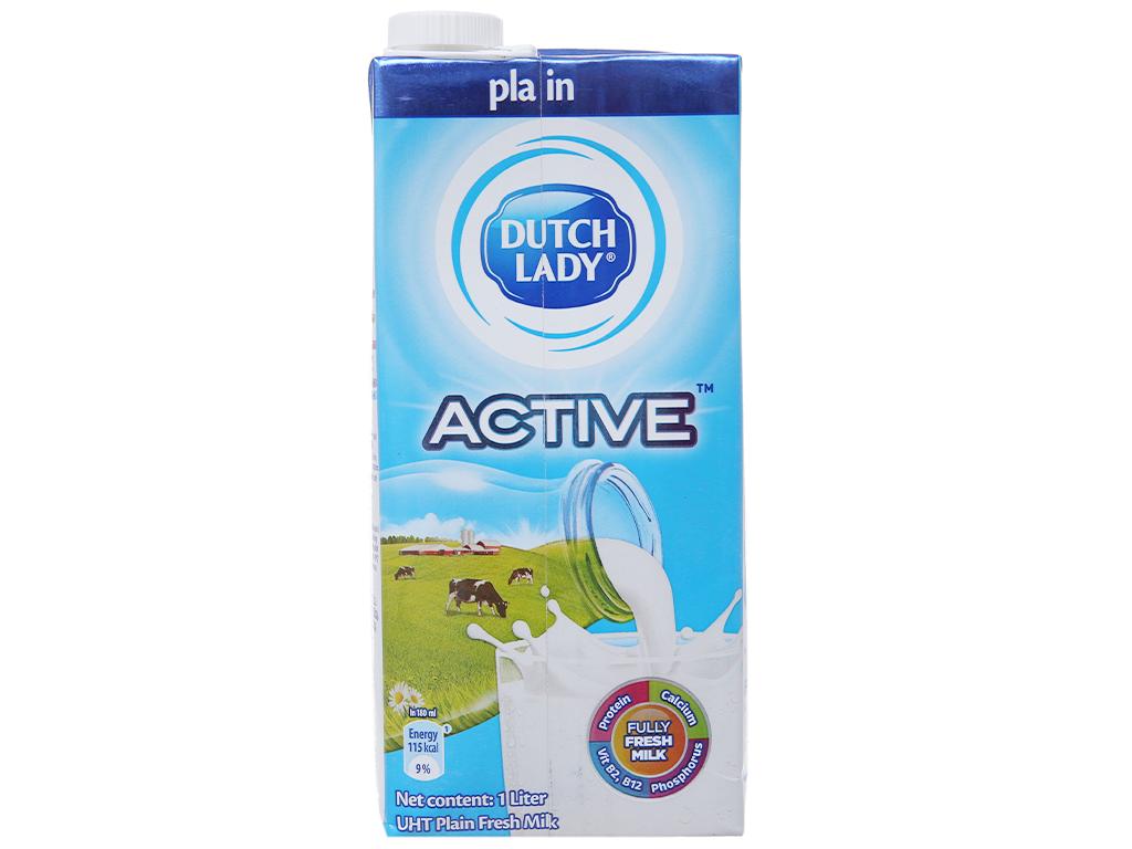 Sữa tươi tiệt trùng Dutch Lady không đường hộp 1 lít 4