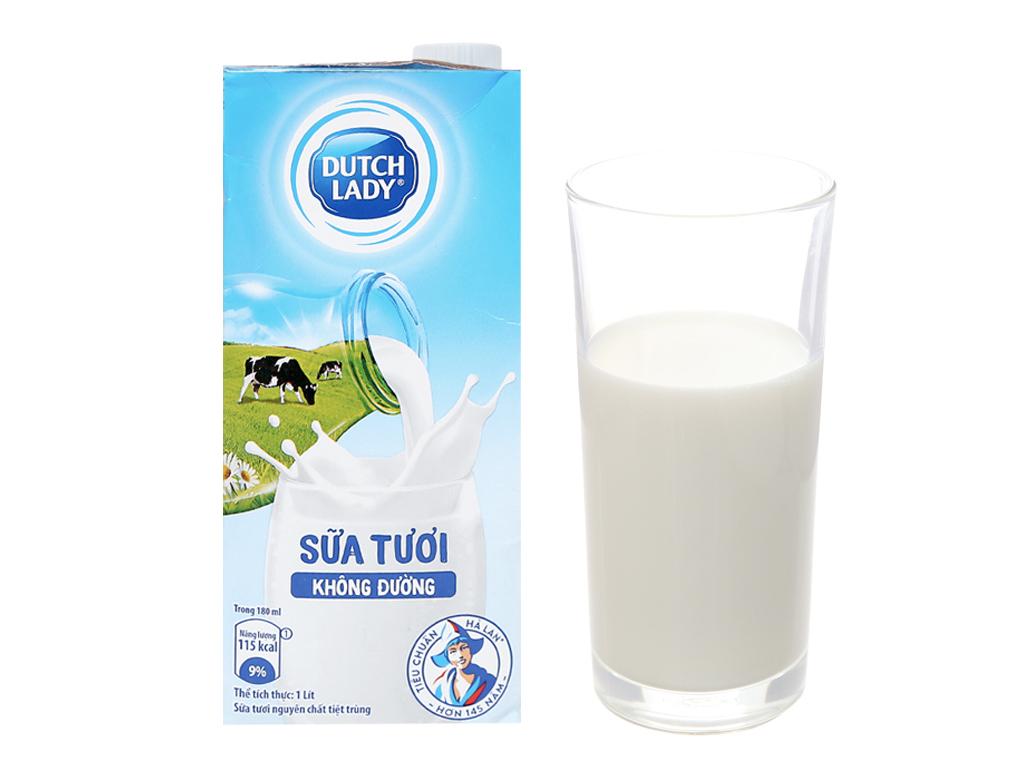 Sữa tươi tiệt trùng Dutch Lady không đường hộp 1 lít 1