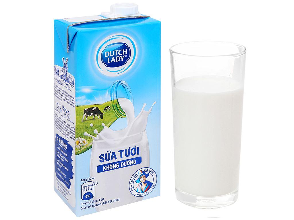 Sữa tươi tiệt trùng không đường Dutch Lady hộp 1 lít 6