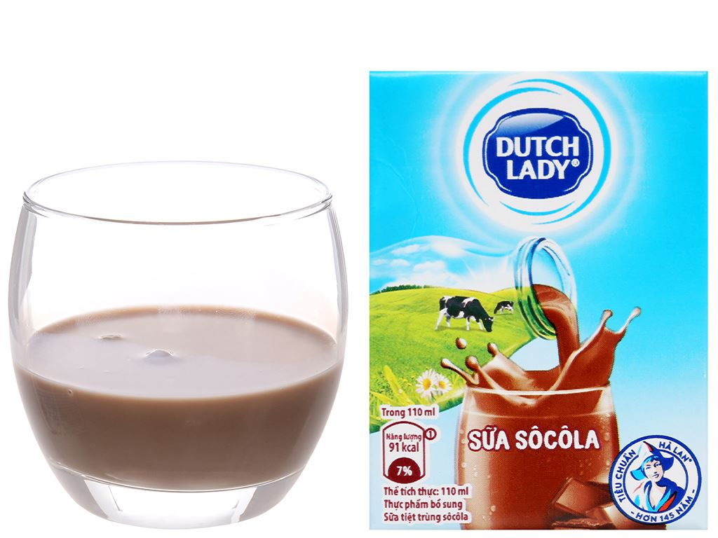 Sữa tiệt trùng Dutch Lady sô cô la hộp 110ml 8