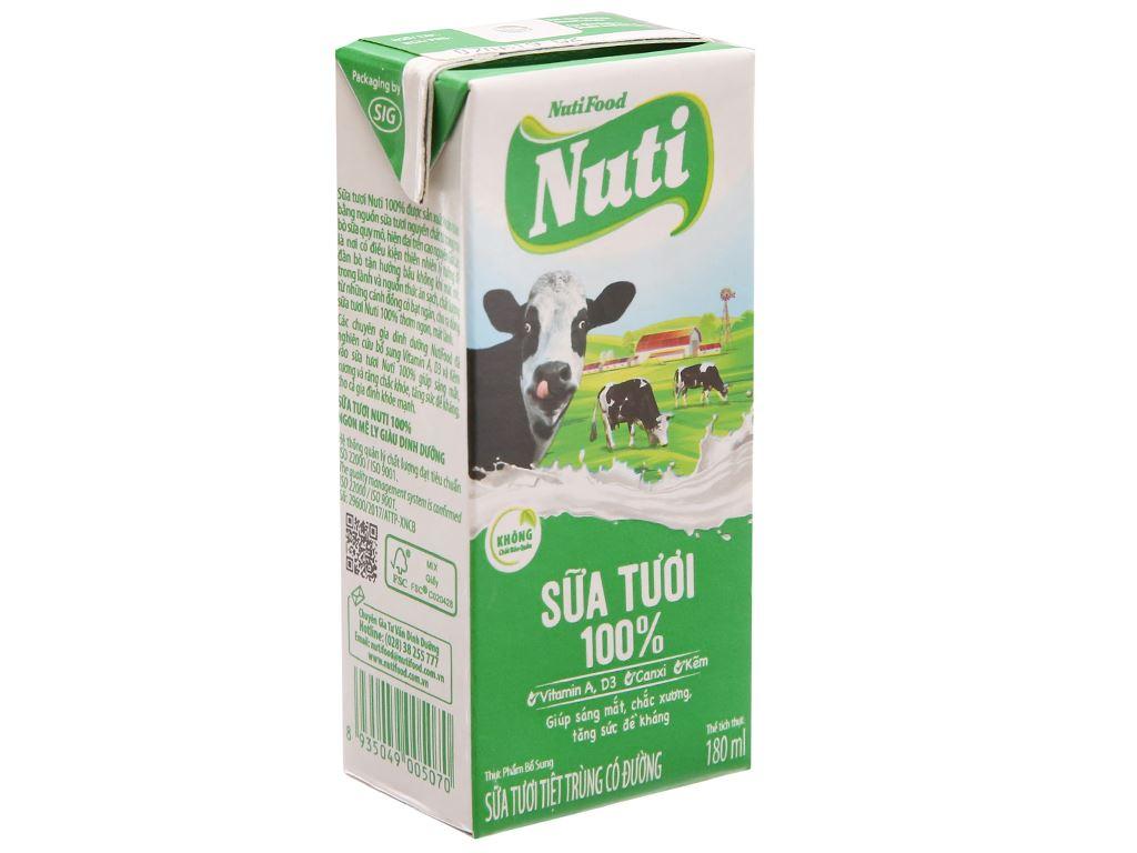 Sữa tươi tiệt trùng NutiFood Sữa tươi 100% hộp 180ml 2
